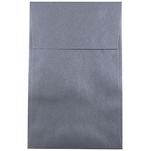 JAM Paper® A10 Policy Metallic Invitation Envelopes, 6 x 9.5, Stardream Anthracite Black, 50/Pack (V018305I)