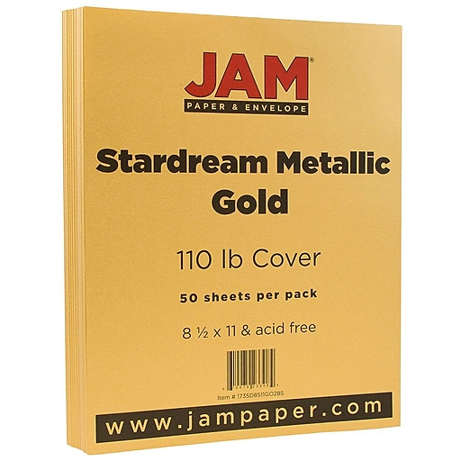 JAM Paper® Metallic 110lb Colored Cardstock, 8.5 x 11, Gold Stardream, 50 Sheets/Pack (173SD8511GO285)