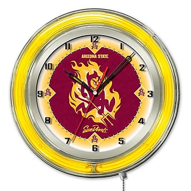 Holland Bar Stool NCAA 19'' Neon Clock; Arizona State Sun Devils -S
