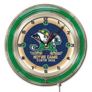 Holland Bar Stool NCAA 19'' Neon Clock; Notre Dame Fighting Irish-Leprechaun