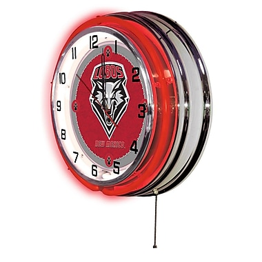 Holland Bar Stool NCAA 19'' Neon Clock; New Mexico Lobos