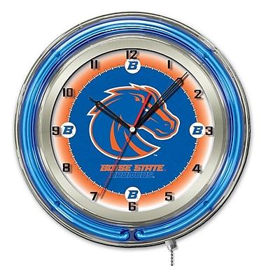Holland Bar Stool NCAA 19'' Neon Clock; Boise State Broncos