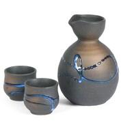 Miya Company 3-Piece Splatter Sake Pitcher Set