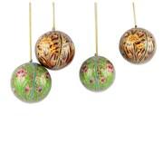 Novica Syed Izaz Hussein Christmas Handmade Papier Mache Ornament (Set of 4)