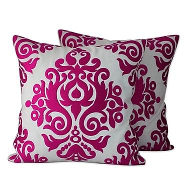 Novica Asha Prabha Embroidered Cotton Throw Pillow Cover (Set of 2)