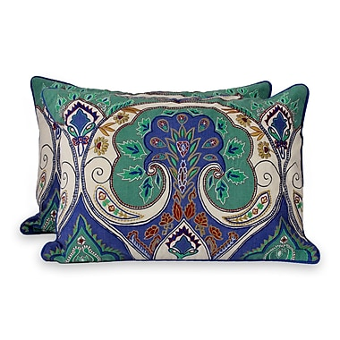 Novica Seema Embroidered Lumbar Pillow Cover (Set of 2)