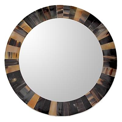 Novica Kamal Unique Round Tiled w/ Buffalo Horn Wall Mirror