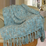 BOON Throw & Blanket Chenille Multi-Colored Throw Blanket; Light Blue