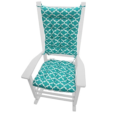 Barnett Home Decor Garden Outdoor Rocking Chair Cushion; Aqua