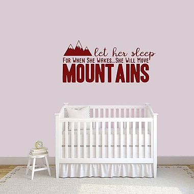 SweetumsWallDecals Let Her Sleep for when She Wakes She Will Move Mountains Wall Decal; Cranberry