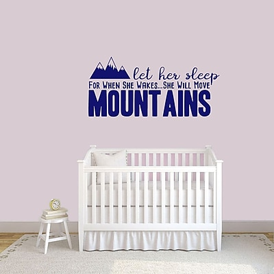 SweetumsWallDecals Let Her Sleep for when She Wakes She Will Move Mountains Wall Decal; Navy