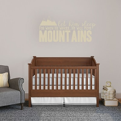 SweetumsWallDecals Let Him Sleep for when He Wakes He Will Move Mountains Wall Decal; Beige