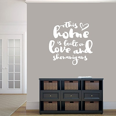SweetumsWallDecals ''This Home Is Built on Love and Shenanigans'' Wall Decal; White