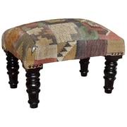 Herat Oriental Handmade Wooden Kilim Upholstered Stool