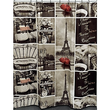 Evideco Cafe Paris Printed Shower Curtain