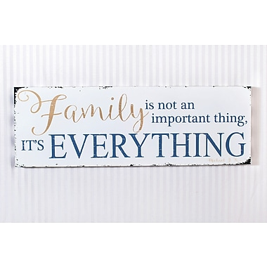 Adams & Co 'Family It's Everything' Textual Art on Plaque