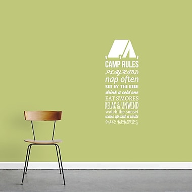 SweetumsWallDecals Camp Rules Wall Decal; White