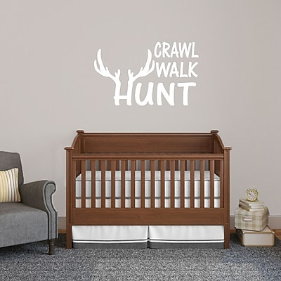 SweetumsWallDecals Crawl Walk Hunt Wall Decal; White