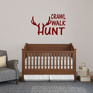 SweetumsWallDecals Crawl Walk Hunt Wall Decal; Cranberry