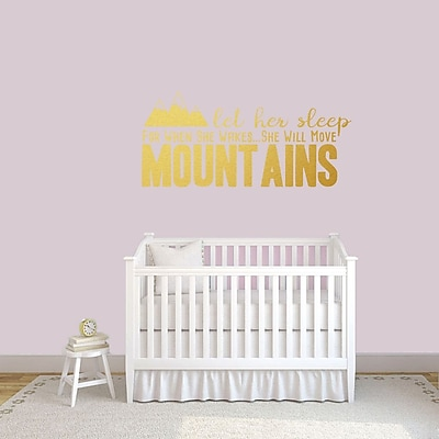 SweetumsWallDecals Let Her Sleep for when She Wakes She Will Move Mountains Wall Decal; Gold