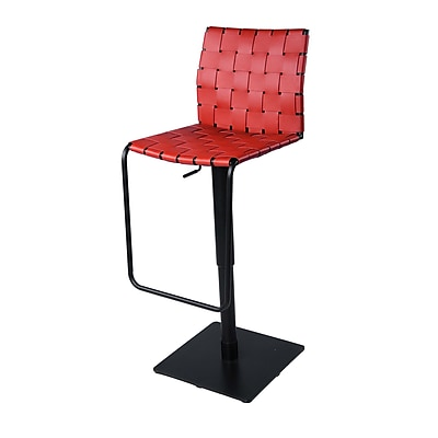 New Pacific Direct Adjustable Height Swivel Bar Stool; Red