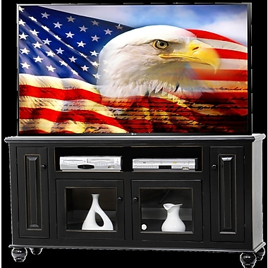 AmericanHeartland Deluxe 66'' TV Stand; European Dusty White