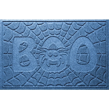 Bungalow Flooring Aqua Shield Boo Spider Doormat; Medium Blue
