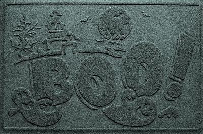 Bungalow Flooring Aqua Shield Boo Ghost Doormat; Evergreen