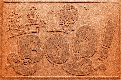 Bungalow Flooring Aqua Shield Boo Ghost Doormat; Orange