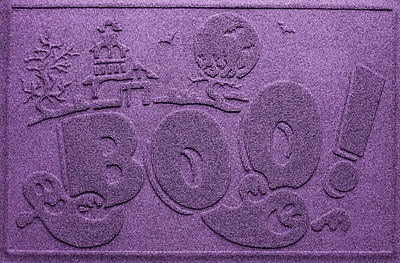 Bungalow Flooring Aqua Shield Boo Ghost Doormat; Purple