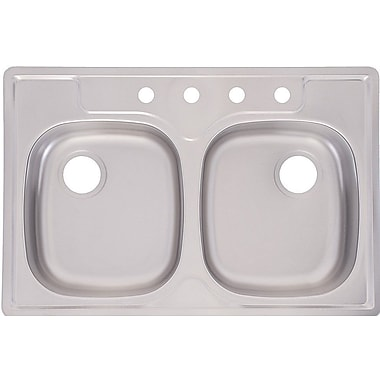 Franke 33'' x 22'' 4 Hole Double Bowl Kitchen Sink
