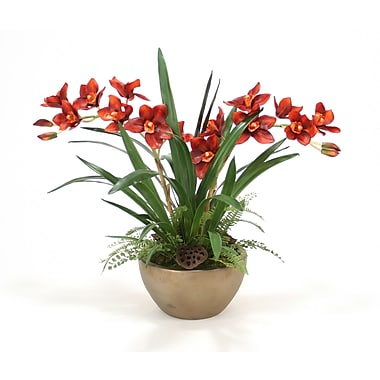 Distinctive Designs Silk Cymbidium Orchids, Grass and Fern Desk Top Plant in Bowl