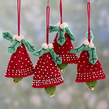 Novica Rajesh Gehlot Christmas Handmade Wool Ornament (Set of 4)