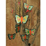 Novica Syed Izaz Hussein Blossoming Butterflies Wood Ornament (Set of 6)