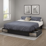 South Shore Step One Full/Queen Platform Bed (54/60'') with drawers, Grey Oak (10446)