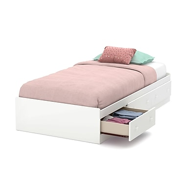 South Shore Little Smileys Twin Mates Bed (39'') with 3 Drawers, Pure White (10479)