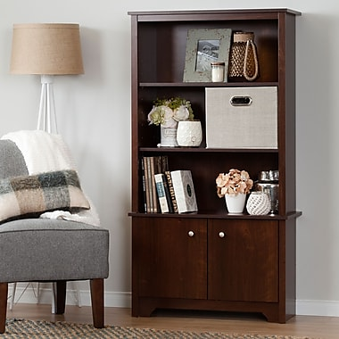 South Shore Vito 3-Shelf Bookcase with Doors, Sumptuous Cherry (10332)