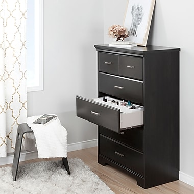 South Shore Versa Ebony 5-Drawer Chest with Jewellery Organizers Set (100134)