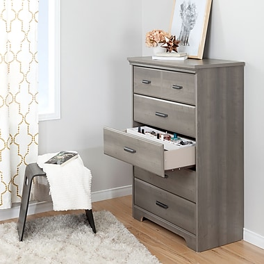 South Shore Versa Grey Maple 5-Drawer Chest with Jewellery Organizers Set (100135)