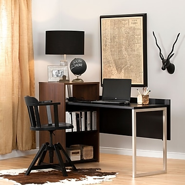 South Shore Tasko Desk with Storage, Brown Walnut and Pure Black (10390)