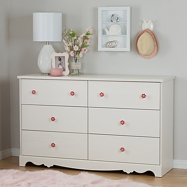 South Shore Lily Rose 6-Drawer Double Dresser, White Wash (10078)