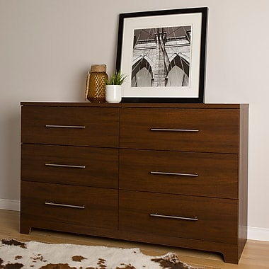 South Shore Primo 6-Drawer Double Dresser, Brown Walnut (10333)
