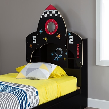 South Shore Vito Twin Bookcase Headboard (39'') with Decals, Space Rocket Themed, Pure Black (10101)