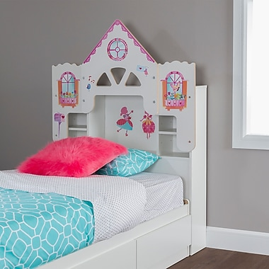 South Shore Vito Twin Bookcase Headboard (39'') with Decals, Dollhouse Themed, Pure White (10098)