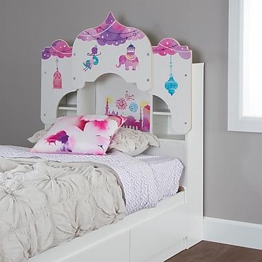 South Shore – Tête de lit bibliothèque Vito pour lit jumeau (39 po) avec décalcomanie, Maison de poupées, blanc pur (10099)