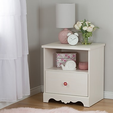 South Shore Lily Rose 1-Drawer Nightstand, White Wash (10076)