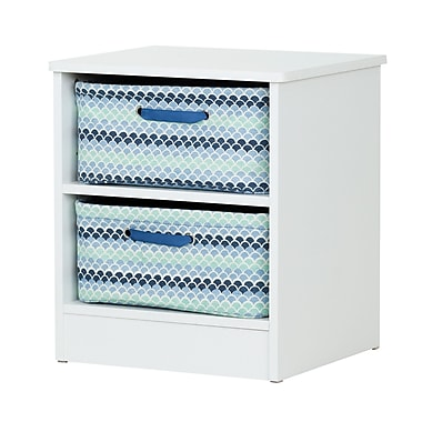 South Shore Libra Pure White Nightstand with 2 Storage Baskets (100131)
