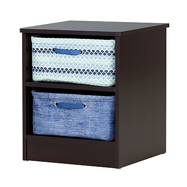 South Shore Libra Chocolate Nightstand with 2 Storage Baskets