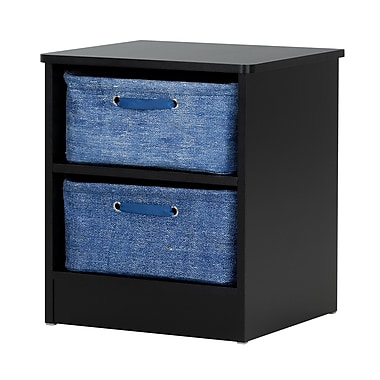South Shore Libra Pure Black Nightstand with 2 Storage Baskets (100133)