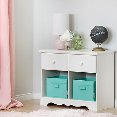 South Shore Summer Breeze 2-Drawer Double Nightstand, White (10205)